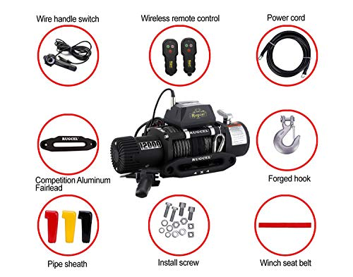 RUGCEL WINCH Waterproof IP68 Offroad Load Capacity 6.6Hp 12V Electric Winch with Hawse Fairlead, Synthetic Rope, 2 Wired Handle and 2 Wireless Remote (12000LB) by RUGCEL WINCH (Image #1)