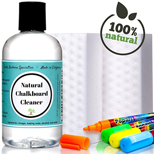 Chalkboard Cleaner - Liquid Chalk Markers (Set of 4) + Cleaner Eraser Kit for Chalkboard Decal ~ 10x More Effective Than Competitors. Removes Old Ghost Marks!