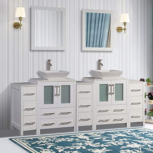 Vanity Art 84 inch Double Sink Bathroom Vanity Combo Set 13-Drawers, 2-Shelf, -