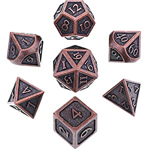 Hestya 7 Pieces Metal Dices Set DND Game Polyhedral Solid Metal D&D Dice Set with Storage Bag and Zinc Alloy with Enamel for Role Playing Game Dungeons and Dragons, Math Teaching Red Copper
