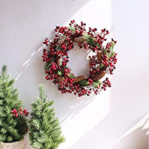 Fake Flower Christmas Wreaths Artificial Berries Natural Pine Nuts Combination Garlands Christmas Decoration for Home Party Outdoor 45Cm,45Cm Red 2