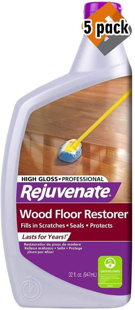 Rejuvenate Professional Wood Floor Restorer and Polish with Durable Finish Non-Toxic Easy Mop On Application High Gloss Finish 32oz (5 Pack) by Rejuvenate