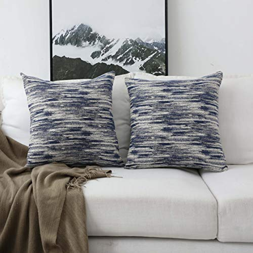 HOME BRILLIANT Oil Painting Accent Pillowcases Decorative Throw Pillow Covers for Patio Car Office, 18x18 inch, Set of 2, Navy Blue
