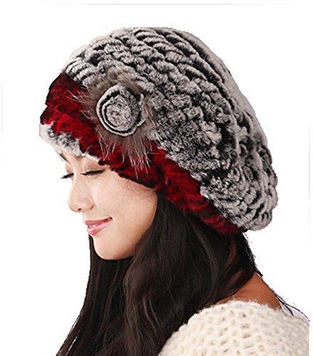 URSFUR Winter Women's Rex Rabbit Fur Beret Hats with Fur Flower (Grey & Red) by URSFUR (Image #3)