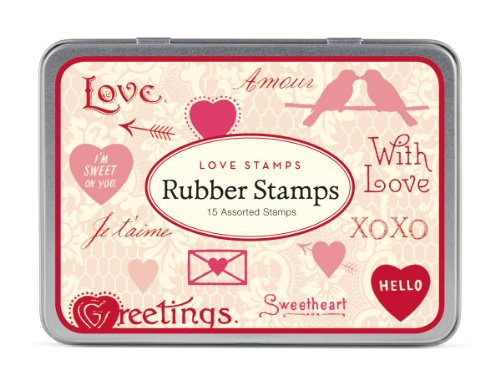 - Cavallini Papers Rubber Stamps Set Love Assorted Wooden Rubber Stamps Packaged in a Tin, Set of 15