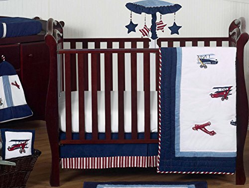 Sweet Jojo Designs 11-Piece Red, White and Blue Vintage Aviator Airplane Plane Baby Boy Bedding Crib Set Without Bumper ()