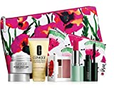 New 2016 Clinique 7 pc Makeup Skincare Gift Set Pink Floral Bag (Warm)