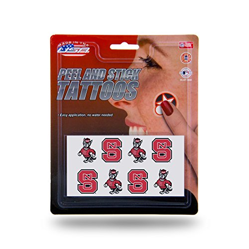 Rico Industries NCAA North Carolina State Wolfpack Face Tattoos, 8-Piece Set
