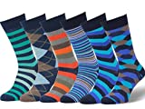 Easton Marlowe Men's Colorful Patterned Dress Socks - 6pk #17, neutral colors - 39-42 EU shoe size
