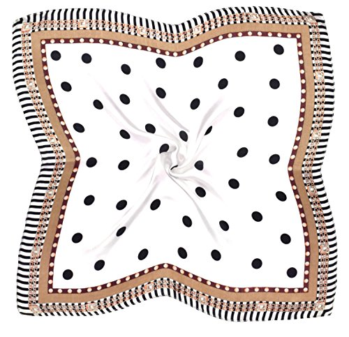 White Spot Silk Scarf (White Brown Black Spot Printed Small Fine Pure Silk Square Scarf)