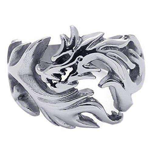 KONOV Polished Stainless Dragon Silver