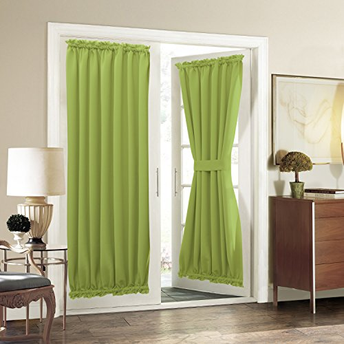 Pony Door Panel (French Door Curtain Panel for Privacy - Aquazolax Solid Blackout Thermal Drapery 54x72-Inch Door Panels for Patio Doors - One Piece, Greenery)