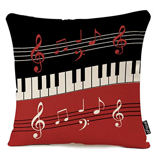 oFloral Red Black White Piano Keys and Notes Sofa Simple Home Decor Design Throw Pillow Case Decor Cushion Covers Square 18 x 18 Inches Cotton Linen (Clearance Designer Sofa)