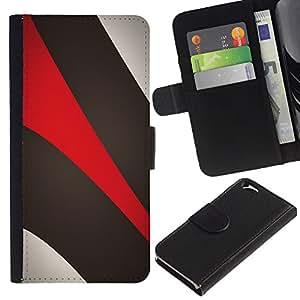 KingStore / Leather Etui en cuir / Apple Iphone 6 / Caqui Beige Rojo