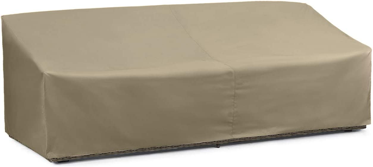 SunPatio Outdoor Oversized Sofa Cover, Lightweight, Water Resistant, Helpful Air Vents, All Weather Protection, 93.5 L x 45 W x 39 H, Neutral Taupe