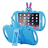 JUN-Q® Lovely Banny Rabbit Case iPad Mini Shockproof Drop Proof for Kids,Extreme-Duty Military Transformer Soft Silicone Case Kickstand Holder Cover for iPad Mini/iPad Mini 2 /iPad Mini 3 (Blue)