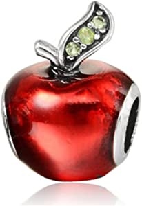 Red Enamel Apple with Green Crystals Charm Bead for Bracelets