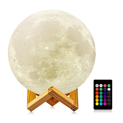 Moon Lamp, LOGROTATE 3D Printing LED 16 Colors RGB Decorative Night Lights Moon Light Lamps with Remote&Touch Control & Adjustable Brightness&USB Recharge for Birthday/Wedding/Kids Gifts(7.1 inch) by LOGROTATE