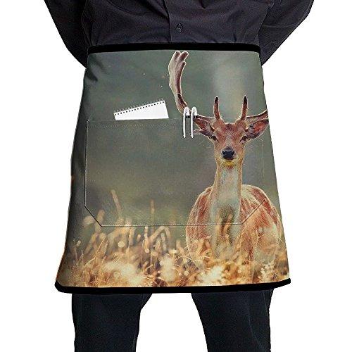 Kjiurhfyheuij Half Short Aprons Animal Deer Waist Apron with Pockets Kitchen Restaurant for Women Men Server -