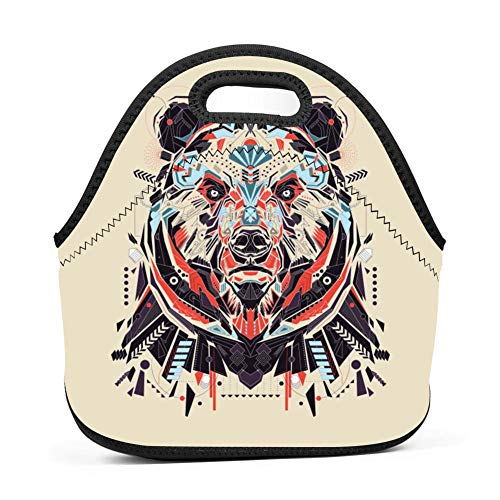 Grizzly Bear Lunch Bag Insulated Bento Tote Bag Picnic Bag with Zipper for Children -