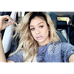 MsFan hair Lace Front Wigs Brazilian Virgin Hair Loose Wave Ombre 1B/27 Glueless Human Hair Wigs With Baby Hair for Women 14 inch
