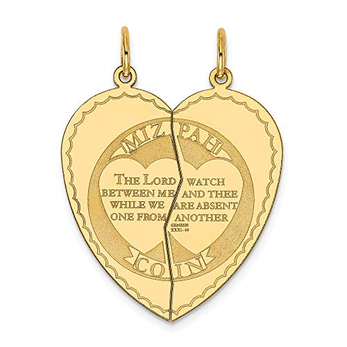 14k Yellow Gold Break Apart Mizpah Coin Emotional Bond Words Heart Charm 33x26mm ()