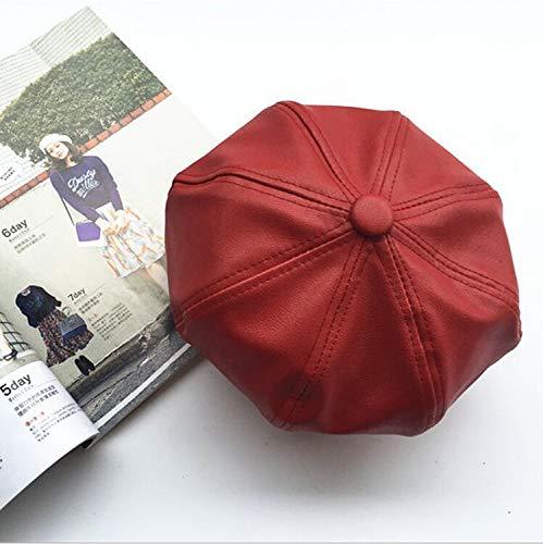 - LoLa Ling Leather Gentleman Men Caps Bonnet Newsboy Flat Hat Solid Women PU Berets Brown Black Color