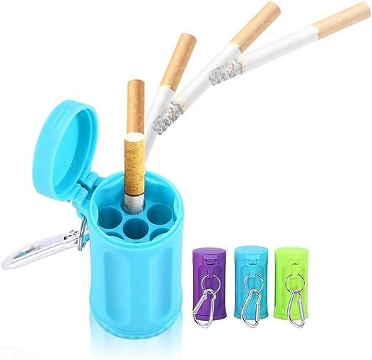 Fdit Cenicero de Cigarrillos para Viaje Cenicero de Cigarrillos de Silicona Port/átil Taza de Cigarrillos de Coche Sin Humo Azul
