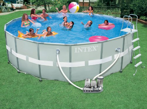 intex ultra frame 18 foot by 52 inch round pool set appliances for home. Black Bedroom Furniture Sets. Home Design Ideas