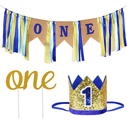 Ecore Fun First Birthday Decorations Party Supplies for Boy | Affordable Sets - 1 Pc High Chair Happy Birthday ONE Burlap Banner + 1 Pc NO.1 Crown + 1 Pc ONE Cake Topper