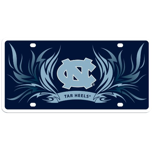 Tar Heels Logo License Plate (NCAA North Carolina Tar Heels Styrene Plate- Flame Style)