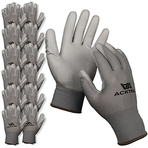ACKTRA Ultra-Thin Polyurethane (PU) Coated Nylon Safety WORK GLOVES 12 Pairs, Knit Wrist Cuff, for Precision Work, for Men & Women, WG002 Grey Large