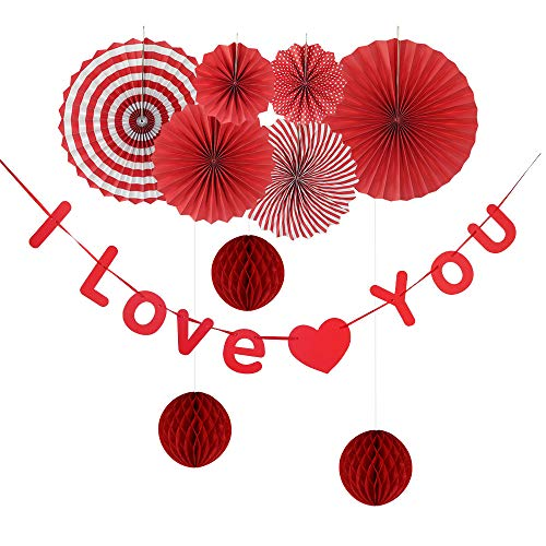 Hanging Decorations for Valentine Day Engagement Wedding Anniversary Red Party Supplies 10 Pieces Set Includes I love You Banner Paper Fans Honeycomb   Reusable Premium Paper Backdrop Decor