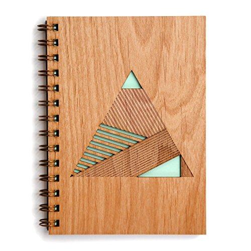 Geometric Pyramid Laser Cut Wood Journal (Notebook / Birthday Gift / Gratitude Journal / Handmade) (Pyramid Laser)