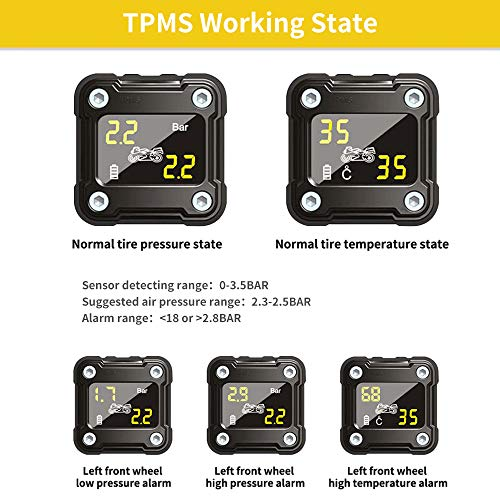 NEWekey Motorcycle TPMS Tire Pressure Monitoring System IP67 Waterproof Wireless TPMS for Motorcycle with 2 External Sensors Digital LCD Display Two-Wheeled Motorcycle TPMS