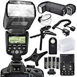 XPIX High Power Auto-Focus Digital SLR Flash W/LCD for Canon Models with accessory bundle