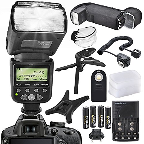 XPIX High Power Auto-Focus Digital SLR Flash W/LCD for Canon Models with accessory bundle by Xpix