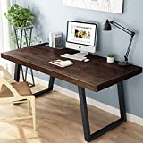 Tribesigns 55' Rustic Solid Wood Computer Desk, Vintage Industrial Home Office Desk with Heavy-Duty Metal Base Works As Writing Desk or Study Table (Espresso)