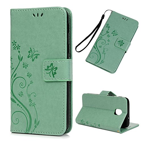 Galaxy J3V J3 V 3rd Gen Case Floral Butterfly Wallet Case PU Leather Magnetic Flip Cover Shock Resistant Flexible TPU Protective Bumper Card Slots Kickstand Lanyard for Samsung Galaxy J3 Mint Green