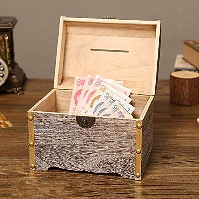 HEgh23ar Cute Money Coin Box Storage, Wooden Piggy Bank, Money Saving Jar,Piggy Bank for Kids M: Kitchen & Dining