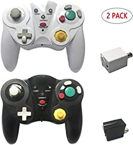 Reiso for Wireless GameCube Controller 2.4G GC Controller with Receiver Adapter Compatible Nintendo Gamecube Wii(Black and White)