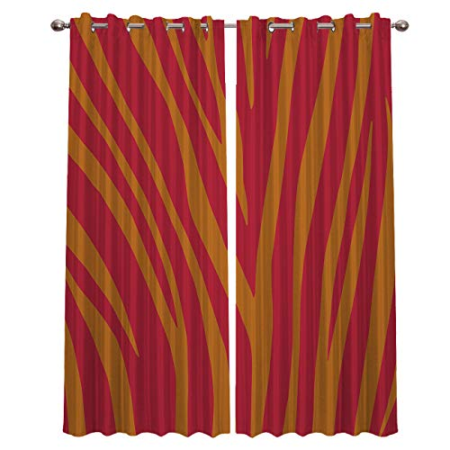 (CHARMHOME Orange and Yellow Zebra Stripe Blackout Curtains for Bedroom Window Thermal Insulated Blackout Drapes Solid Grommet for Living Room Set of 2 Panels 52