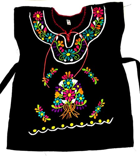 (Mexican Infant Blouse Black Size 2 Mexican Dress Day of The Dead Theme Party Halloween)