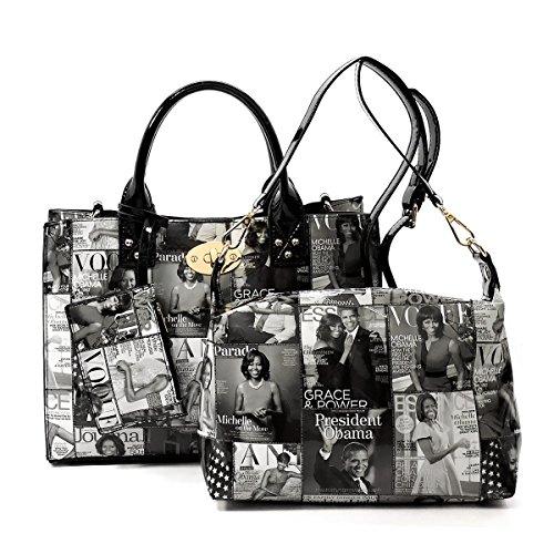 Glossy magazine cover collage crossbody bag purses Michelle Obama mini handbag (GREY/BLACK)