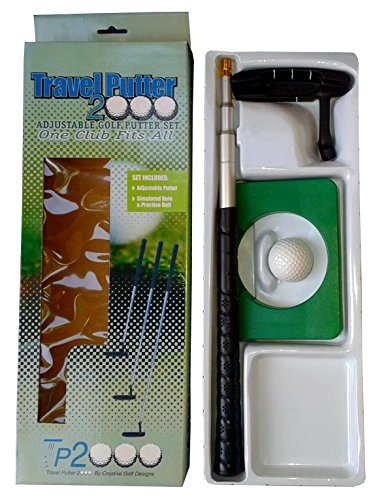 Lot of 2 Travel Indoor Putter Sets with Telescoping Shaft, Simulated Hole and Golf Ball TP2000