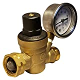 RV Water Pressure Regulator with Gauge - Brass Lead Free Adjustable Water Pressure Valve Reducer for Camper - RV Water Screen Inlet Filter for Water Flow …