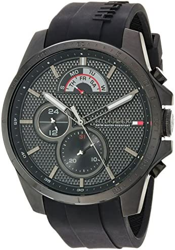 Tommy Hilfiger Men s Cool Sport Quartz Watch with Silicone Strap, Black, 22 Model 1791352