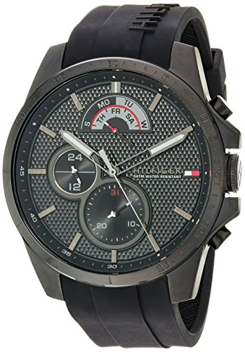 Tommy Hilfiger Men's 'Cool Sport' Quartz Resin and Silicone Casual Watch, Color Black (Model: 1791352)