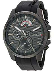 Tommy Hilfiger Mens COOL SPORT Quartz Resin and Silicone Casual Watch, Color:Black (Model: 1791352)