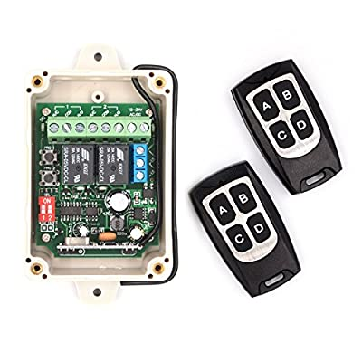 Solidremote 12V - 24V Secure Wireless RF Remote Control Relay Switch Receiver 2-Channel with 2 Transmitters for Garage Door / Gate Openers & Other Electronics (KIT-1)